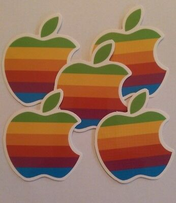 5 Apple Rainbow Logo Retro Die Cut Vinyl Stickers Waterproof