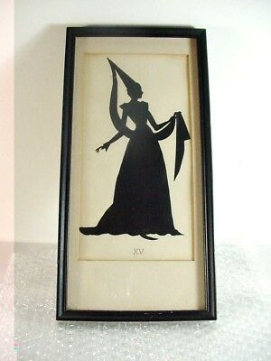 """Lot#4: Antique Framed Silhouette Victorian Lady 1800""""s Period Dress Xv: 12+"""""""