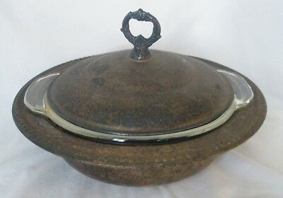 """Vintage Sheridan Silver Plated 11"""" Covered Casserole w Lid & Glass 2 qt Insert"""