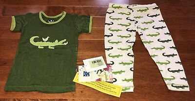 KicKee Pants Toddler Boy Natural Crocodile Short Sleeve Pajamas New 18-24 Months