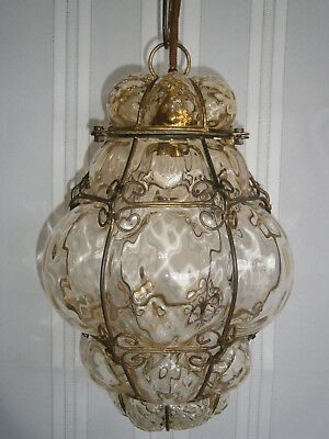 Large Antique Victorian Vintage Yellow Glass & Metal Pendant Light Shade 1900's