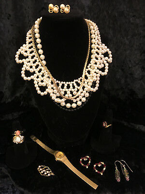 Lot Vintage Costume Jewelry Pearls Pearl Necklaces Earrings Rings Pin Watch