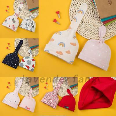 2X Cute Newborn Baby Cap Thick Cotton Soft Winter Hats For 0-12 Months Baby AU
