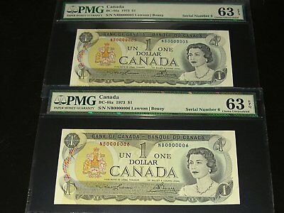 Bank of Canada Low Serial Number 05 & 06 Consecutive 1973 $1 Notes PMG 63 EPQ
