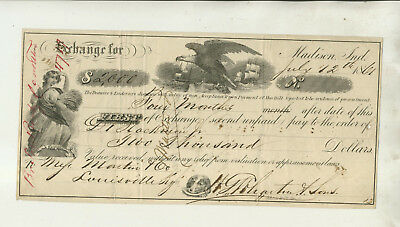 1861 First Exchange Note H G Whartin & Sons Madison Indiana