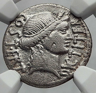 JULIUS CAESAR - NGC Certified VF Ancient Silver Roman Coin THAPSUS Battle i60151