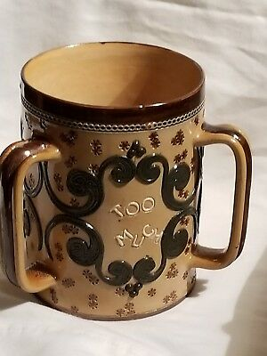 Antique Royal Doulton Lambeth 3-Handle Embossed Stoneware Beer Stein #4015