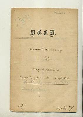 1872 Legal Document Deed Conrad Willick Philadelphia & George Hartmann Philly