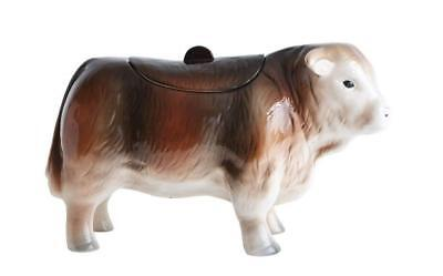 Vintage Cow Textured Chestnut 12.75 x 7 Dolomite Ceramic Decorative Cookie Jar