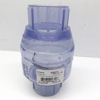 """Nds 1520C-12 1-1/4"""" Pvc Clear Ips Swing Check Valve"""