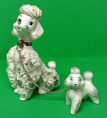 Vintage Potters Co. Spaghetti Poodle Dog Figurines, Mom PuppyChained 1950s TAGS