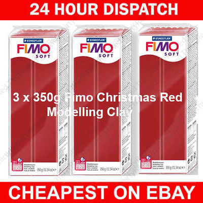 3 X Fimo Soft 350G Polymer Modelling Clay Oven Bake Christmas Red Colour