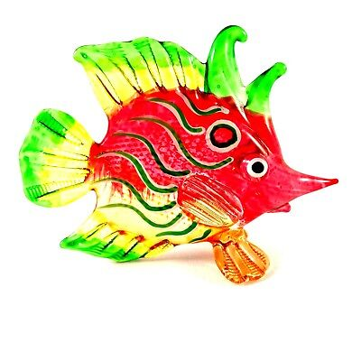 Figurine Miniature Hand Blown Glass Fish Art Painted Fancy Animal Collectibles