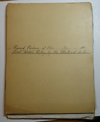 Burlington Railroad: Proposed Purchase of Chicago Great Western by CB&Q & UPRR