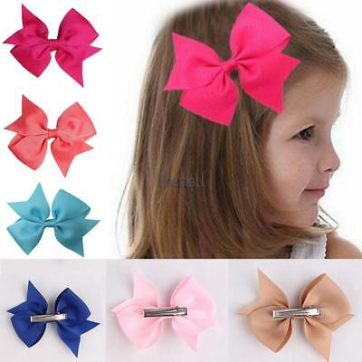 10 Colors Bow Hair Clip Baby Clips Girls Ribbon Kids Sides Accessories Lot MMQZ