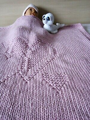 Hand-knittedwool baby blanket with Heart/Hand-knitted children quilt with Heart