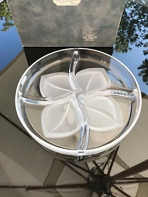 J.G DURAND Florence Satin Crystal Divided Dish - New In Box