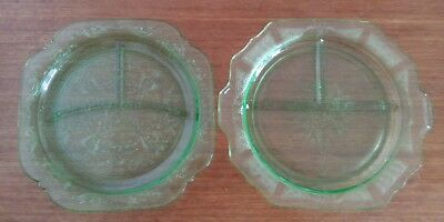 Green Depression Glass Plates Sectioned Lot Of 2
