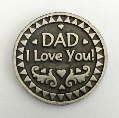 """Pewter Two Sided """"Dad I Love You"""" Gift Coin Pocket Token - Father's Day Birthday"""