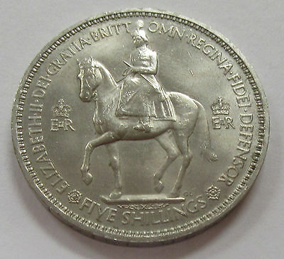 1953 Great Britain 5 Shillings Beautiful Horse & Rider Obverse Coin in Holder