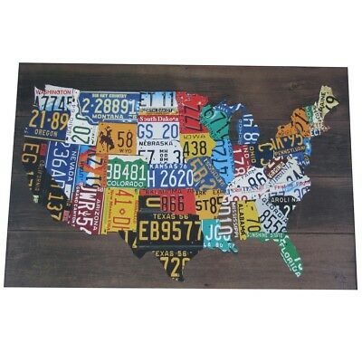 Wooden USA License Plate Map Pub Bar Wall Art Wood U.S.A. Auto Car Tag Plates