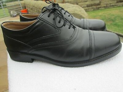 Mens Clarks Extra Wide Smart Black Leather Lace-Up Shoes Size Uk 10.5