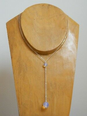 Smooth Round Opalite MOONSTONE Beads & 925 Sterling Silver Lariat Drop Necklace