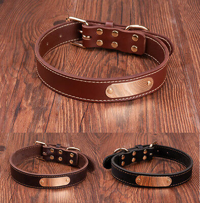 Leather Pet Collar Personalized Engraved Name Tag for Dog and Cat