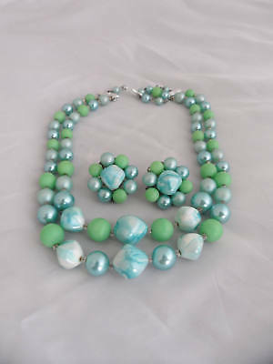 Jackie Kennedy Jewelry Set Turquoise Pearl Choker and Earrings
