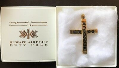 """2003 Kuwait Gold Plated Cross Pendant With Case 1 1/2"""" X 1 1/8"""" - Never Worn"""