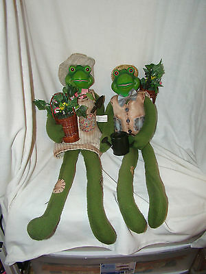 Garden Frogs Wearing Hats and Clothes - Pair - Ceramic Faces - Decoration  Used