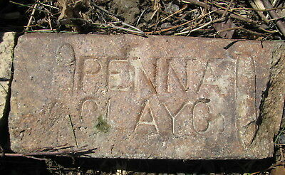 OLD VTG antique Brick reclaimed Stamped PENNA CLAY CO.  chipped corner Brick PC3