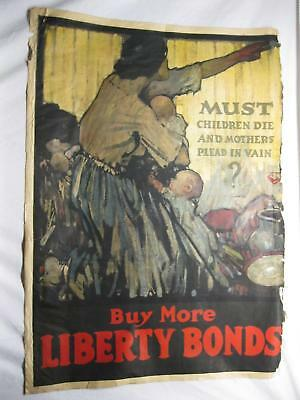 Children Die Mothers Plead Liberty Bonds Original WWI World War 1 Poster Old Vtg