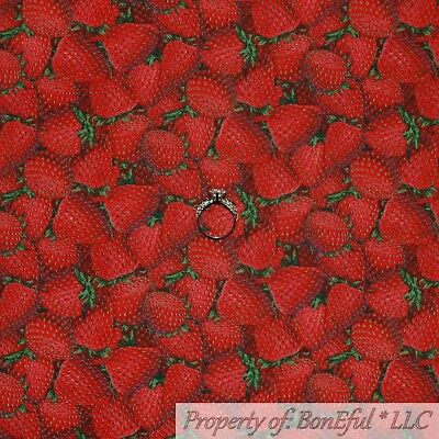 BonEful FABRIC FQ Cotton Quilt Red Strawberry Fruit Green Leaf Market Flower Dot