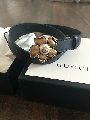 Gucci Black Leather Pearl Gold Flower Belt Size 90 6667ed41203