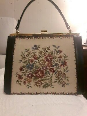 Vintage and Rare La Marquise Petit Point Tapestry and Leather Handbag