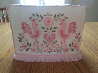 Vintage Pink Roosters Toaster Cover