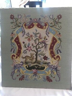 "VINTAGE CHIPPENDALE JACOBEAN TAPESTRY PETIT POINT COMPLETE ON BOARD 22"" x 19.75"""