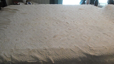 """Vintage hand made crocheted white cotton bedspread bed cover 66"""" by 108"""""""