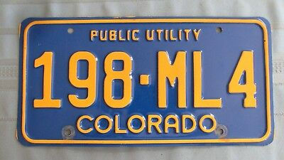 Colorado Public Utility License Plate-Embossed Yellow On Blue-198-ML4