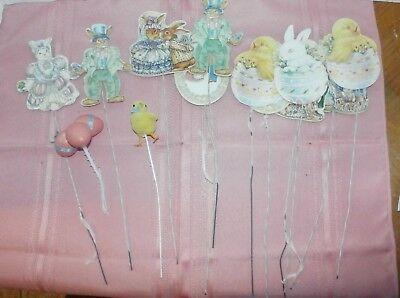 Vintage Easter Pics Decor Bunnies Eggs Chicks Lot of 13