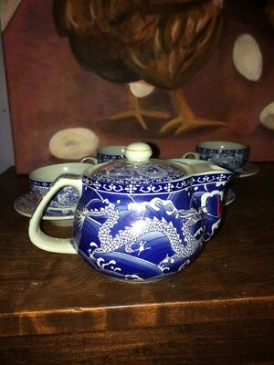 Small Asian Tea Set Blue Red Dragons Cups Saucers Teapot