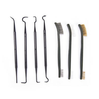 Gun Cleaning Tool Double-end 3pcs Steel Wire Brush & 4pcs Nylon Pick Set Pip IT