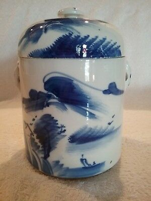 Vintage Asian Chinese Double Lid Pot Or Jar -Blue & White Porcelain