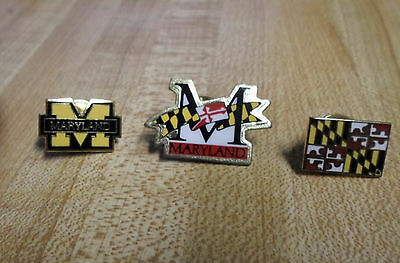 3 Pictured Maryland  Pins /tie Tacks  .  Excellent