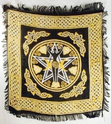 """Pentagram Goddess altar cloth 18"""" x 18"""" Pagan Witchcraft Wiccan Ritual Supply"""