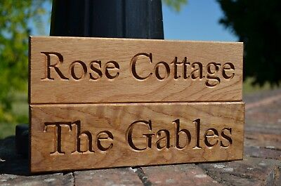Personalized Oak House Sign Carved Engraved Outdoor Wooden Name