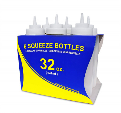 New Star Squeeze Bottles, Plastic, Wide Mouth, 32 oz, Clear, Pack of 6