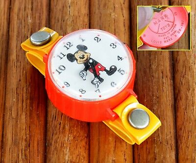 Vintage Marx Toys Wind Up Mickey Mouse Wrist Watch Red With Yellow Band~Works