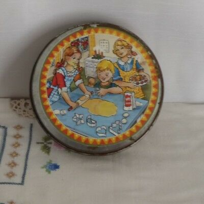 Vintage 1950s biscuit cutters for children, alphabet shapes in lovely tin